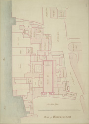 [Drawn plan of Westminster Hall, the Houses of Lords and Commons, and the Courts of Law]